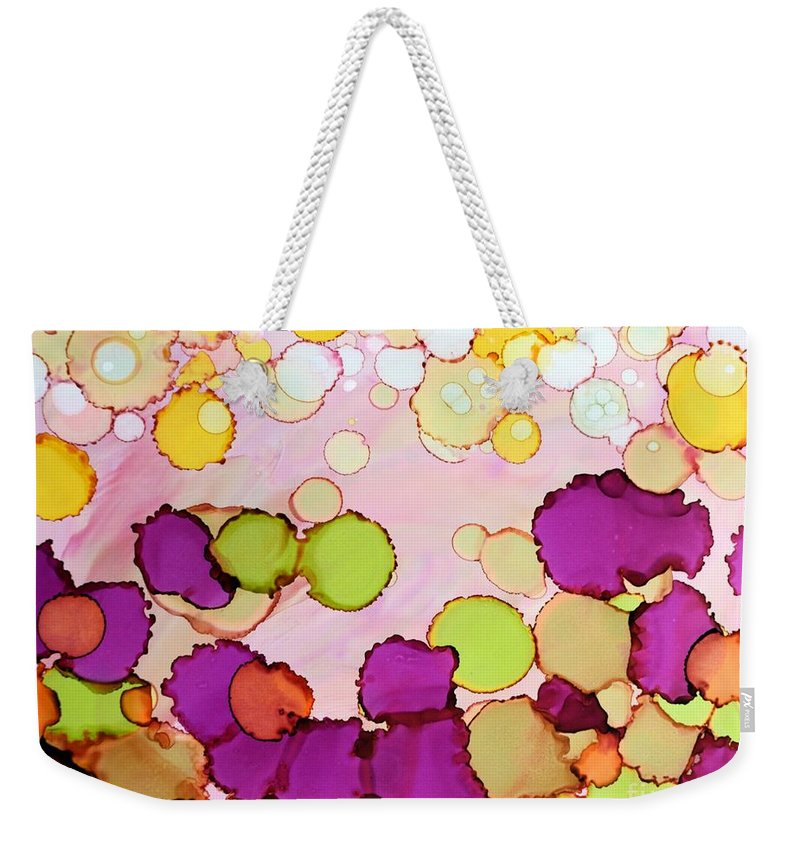 Abstract Weekender Tote Bag featuring the painting Bubbles by Beth Kluth