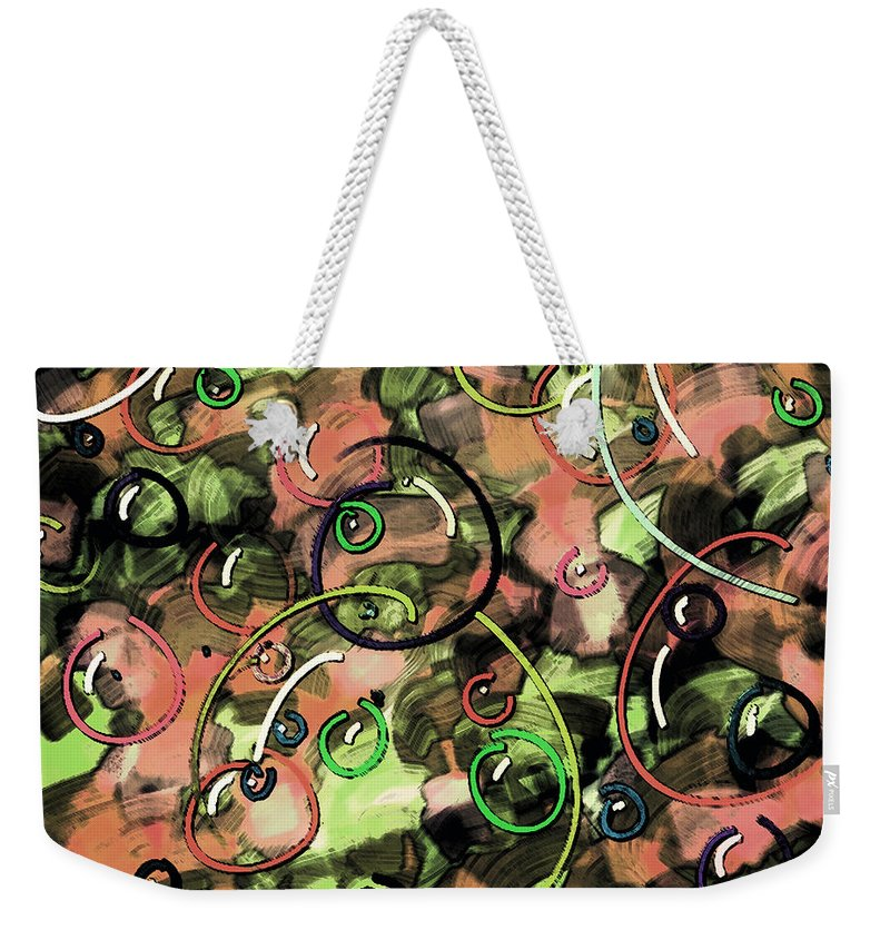 Abstract Weekender Tote Bag featuring the digital art Bubbles by Rachel Christine Nowicki
