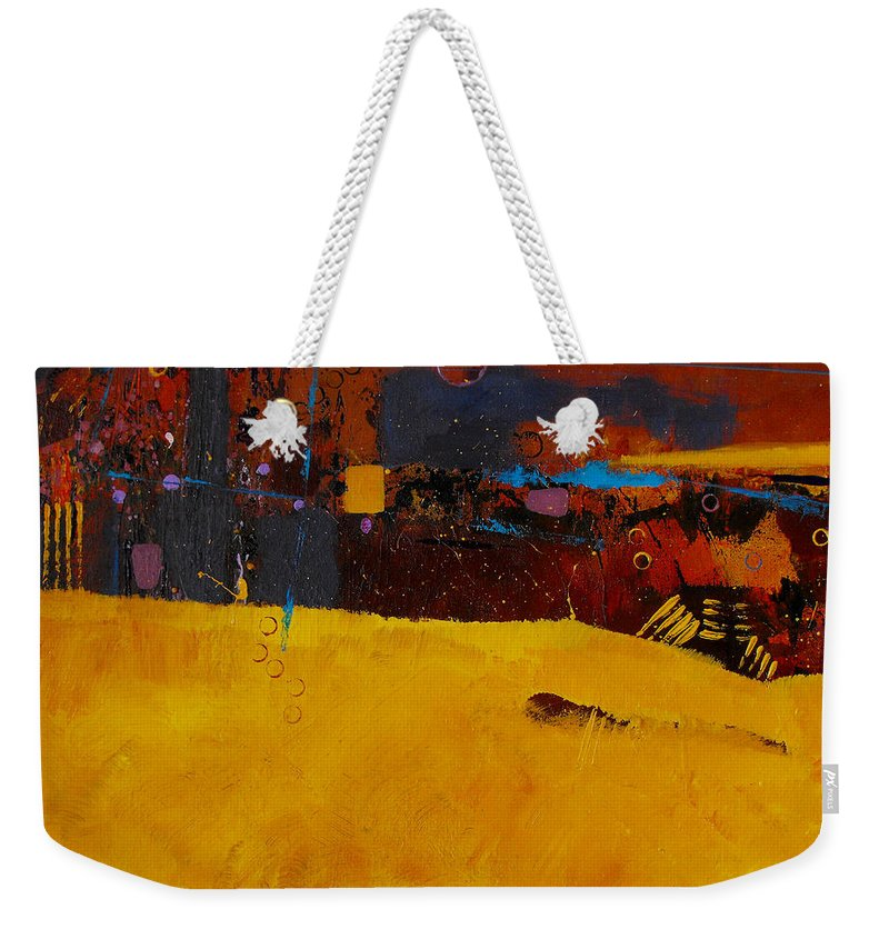 ruth Palmer Abstract Color Geometric Circles Irregular Lines Orange Coral Pink Blue Yellow Weekender Tote Bag featuring the painting Bubbles Rising by Ruth Palmer