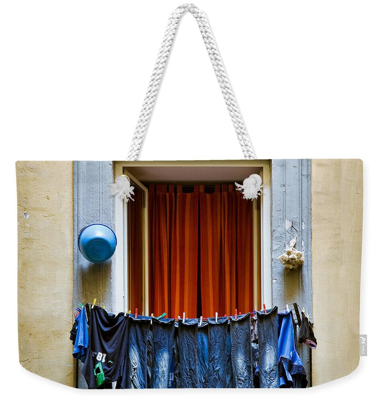 Clothes Weekender Tote Bag featuring the photograph Bucket - Garlic And Jeans by Dave Bowman