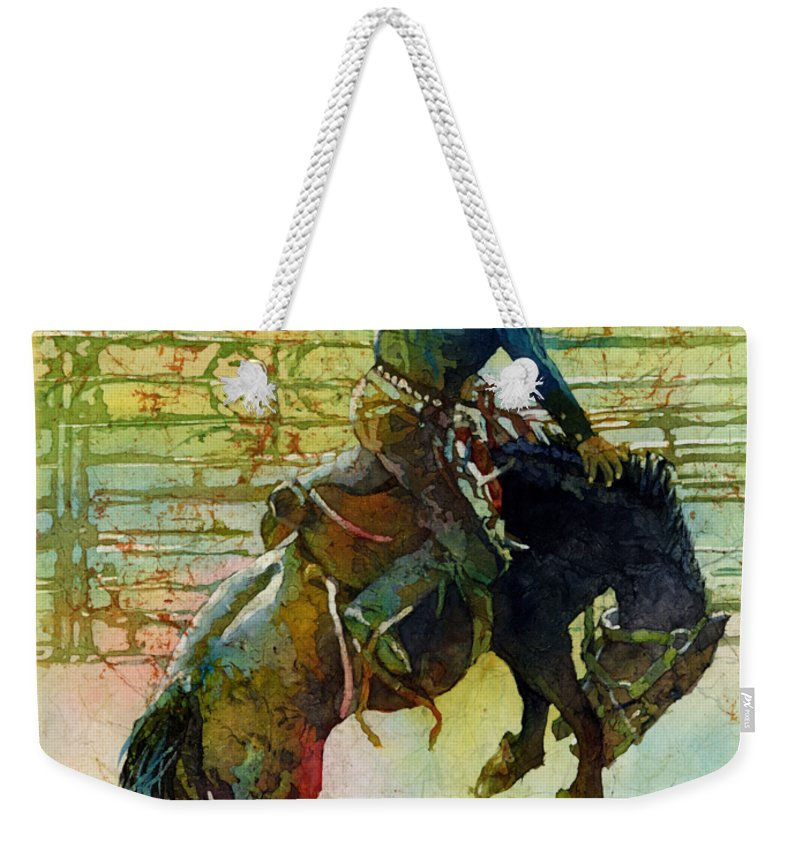 Bronc Weekender Tote Bag featuring the painting Bucking Rhythm by Hailey E Herrera