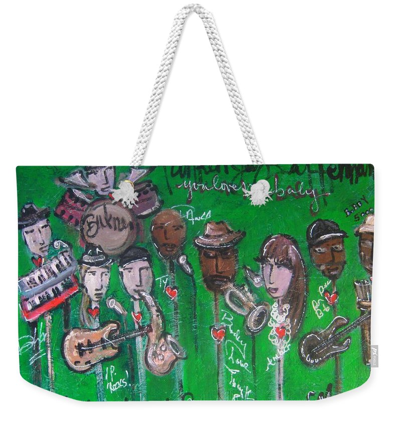 Buckner Funken Jazz Weekender Tote Bag featuring the painting Buckner Funken Jazz by Laurie Maves ART