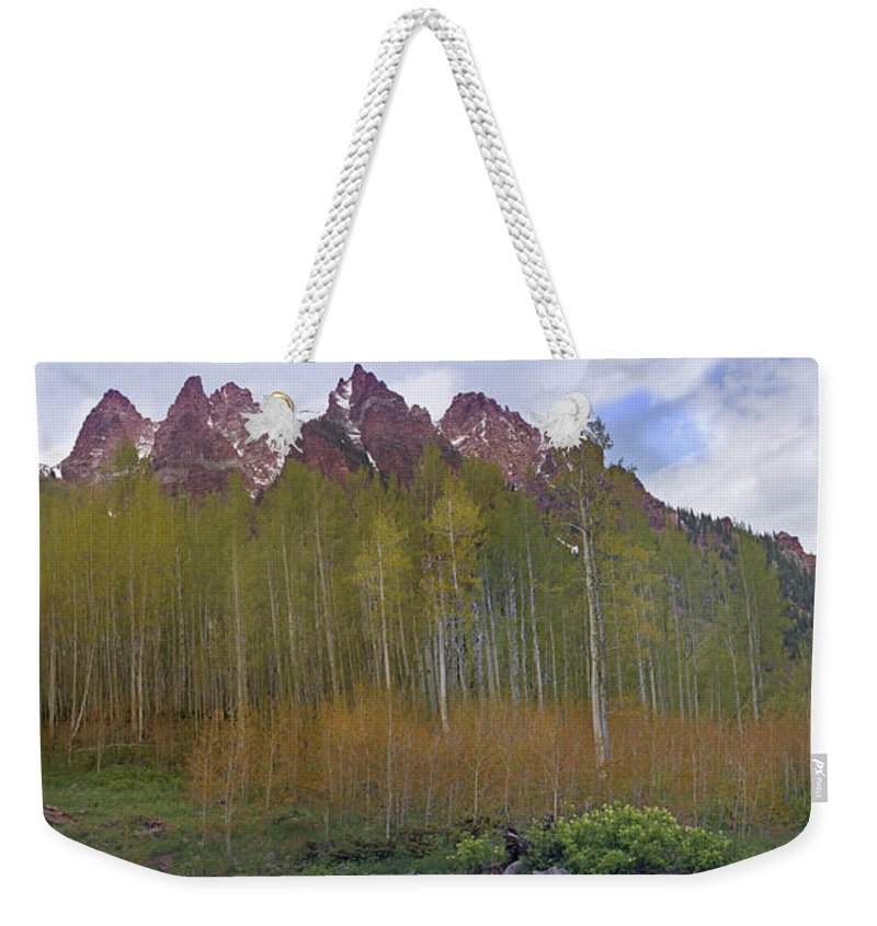 Mountain Weekender Tote Bag featuring the photograph Buckskin Mtn And Friends by Heather Coen