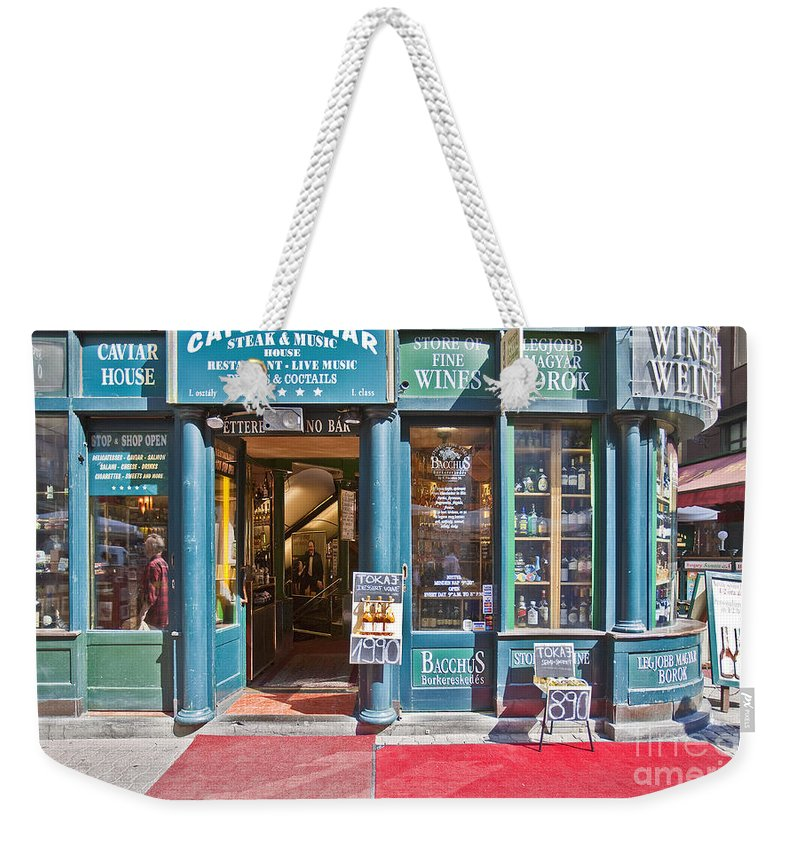 Budapest Weekender Tote Bag featuring the photograph Budapest Storefront by Madeline Ellis
