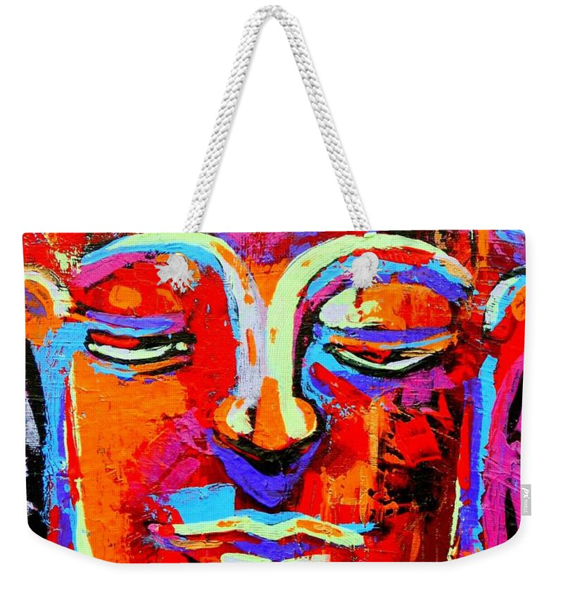 Art Weekender Tote Bag featuring the painting Buddha 3 by Angie Wright