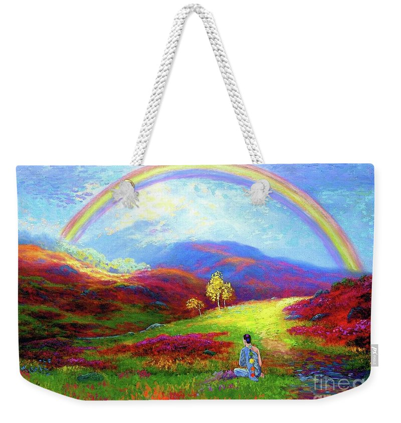 Meditation Weekender Tote Bag featuring the painting Buddha Chakra Rainbow Meditation by Jane Small