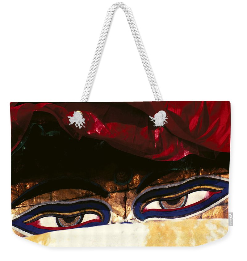 Eyes Weekender Tote Bag featuring the photograph Buddha Eyes by Patrick Klauss