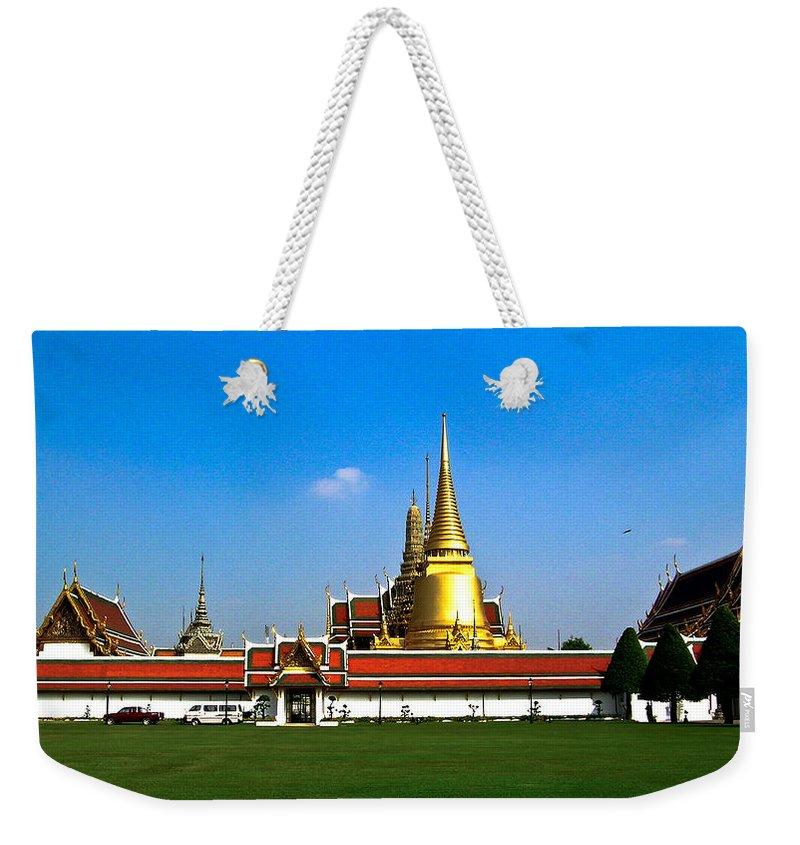 Buddha Weekender Tote Bag featuring the photograph Buddhaist Temple by Douglas Barnett