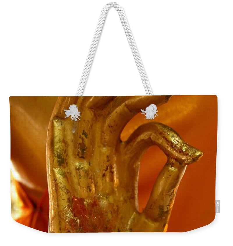 Buddhism Weekender Tote Bag featuring the photograph Buddhism Symbols by Minaz Jantz