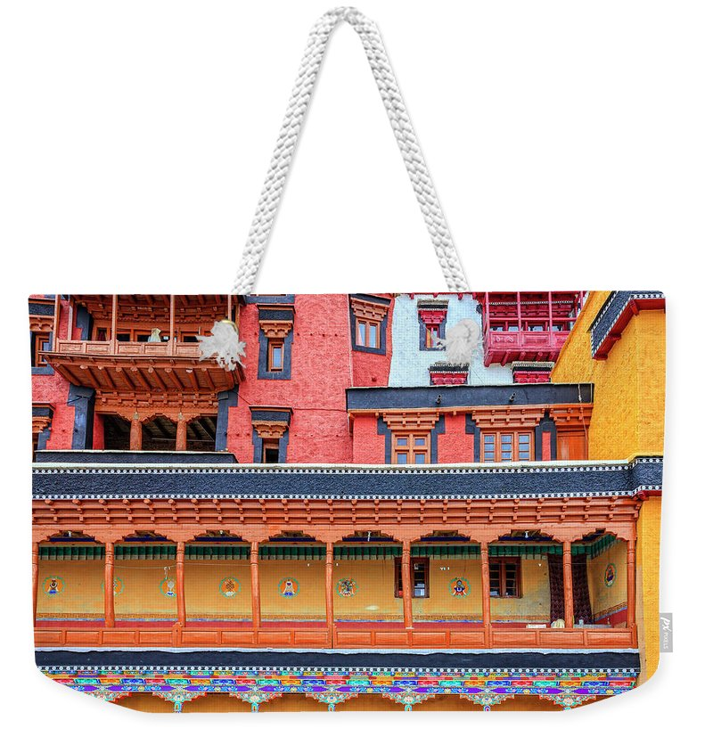 Asia Weekender Tote Bag featuring the photograph Buddhist Monastery Building by Alexey Stiop