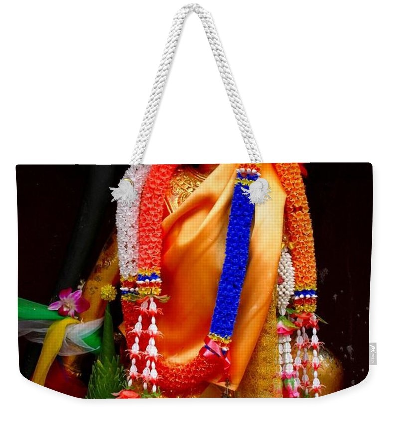 Buddism Weekender Tote Bag featuring the photograph Buddism And Pepsi Shrine by Minaz Jantz