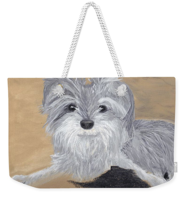 Dog Weekender Tote Bag featuring the painting Buddy by Debbie Levene