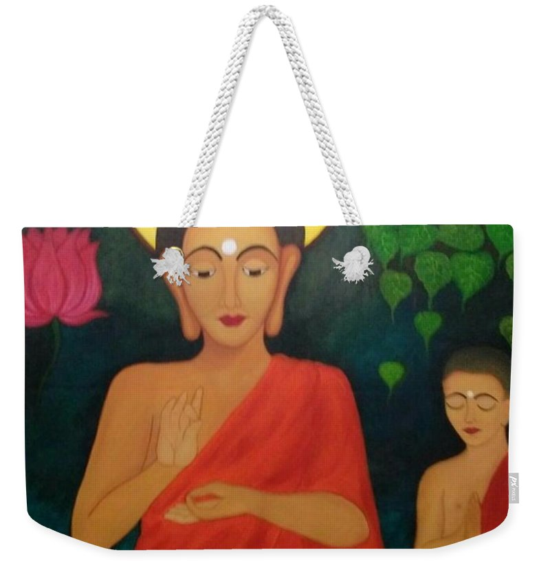 Acrylic Weekender Tote Bag featuring the painting Budha Blessing by Divya Singh
