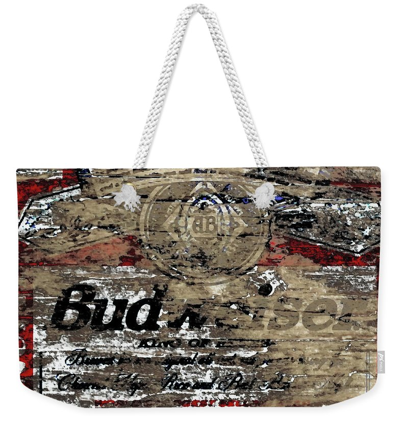 Budweiser Weekender Tote Bag featuring the mixed media Budweiser Wood Art 5c by Brian Reaves
