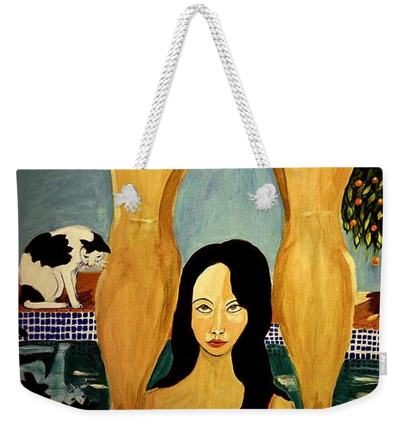 Cat Weekender Tote Bag featuring the painting Buena Vista by Rusty Gladdish