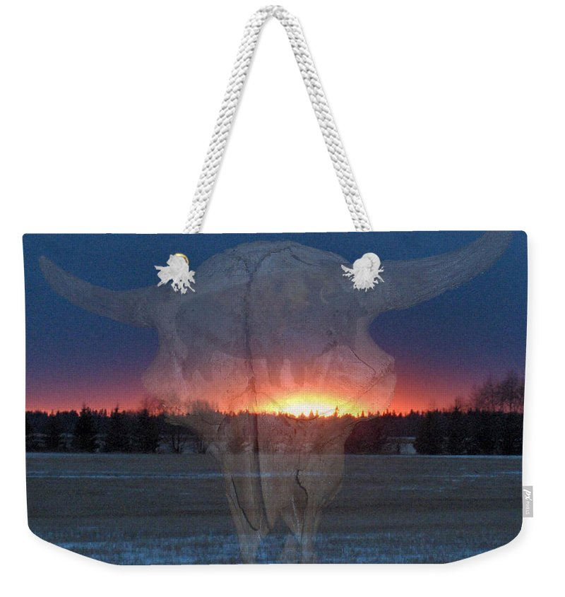 Buffalo Teepee Ghosts Skull Sunset Trees Saskatchewan Weekender Tote Bag featuring the digital art Buffalo Ghosts by Andrea Lawrence