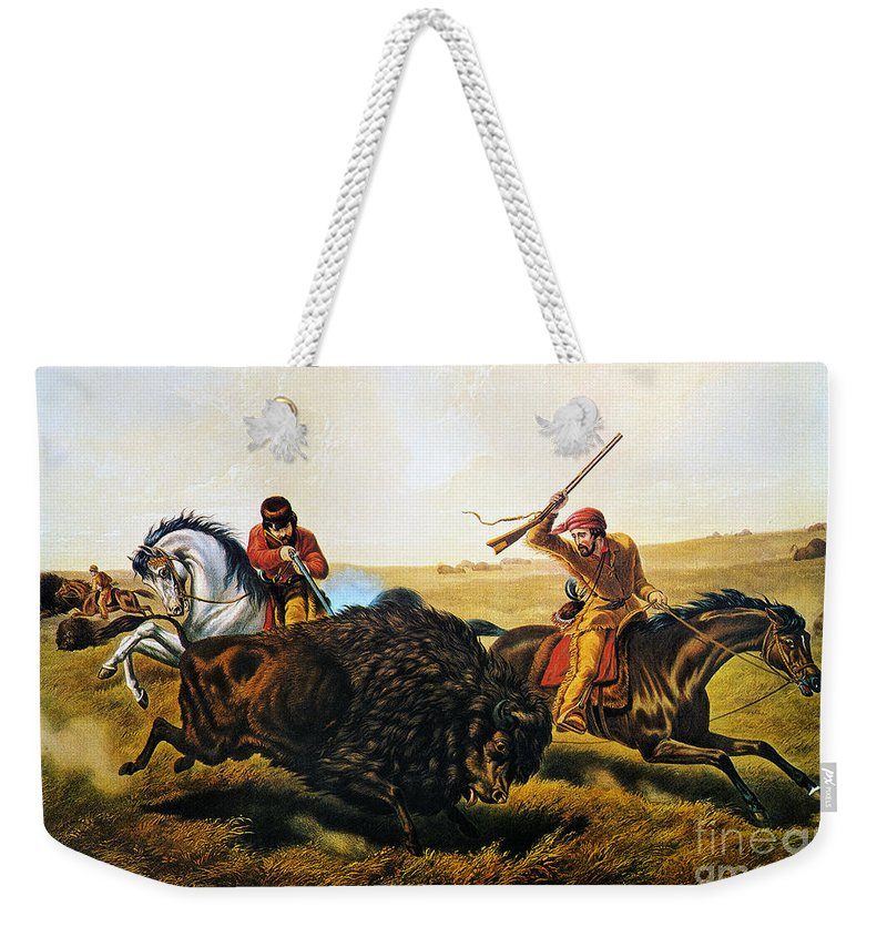 1862 Weekender Tote Bag featuring the photograph Buffalo Hunt, 1862 by Granger