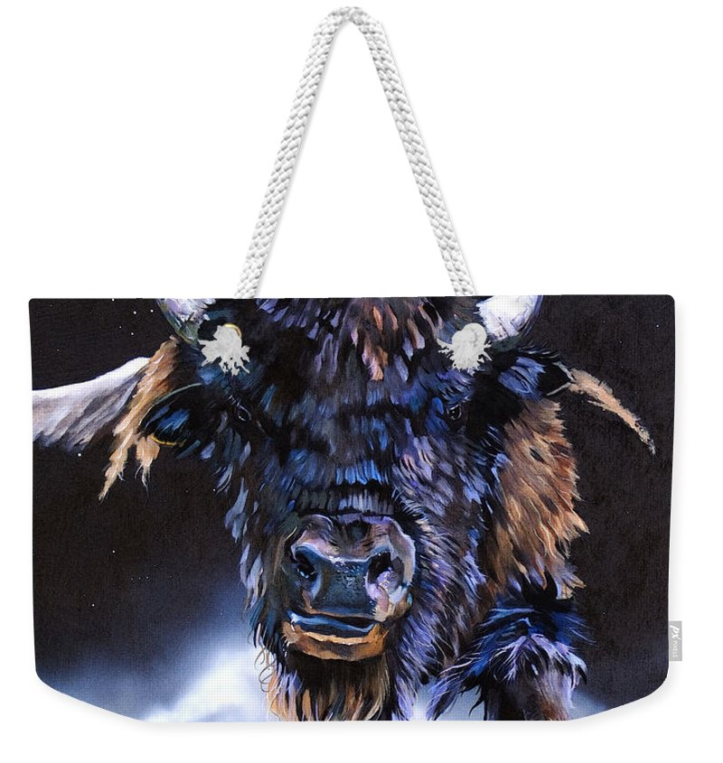 Buffalo Weekender Tote Bag featuring the painting Buffalo Medicine by J W Baker