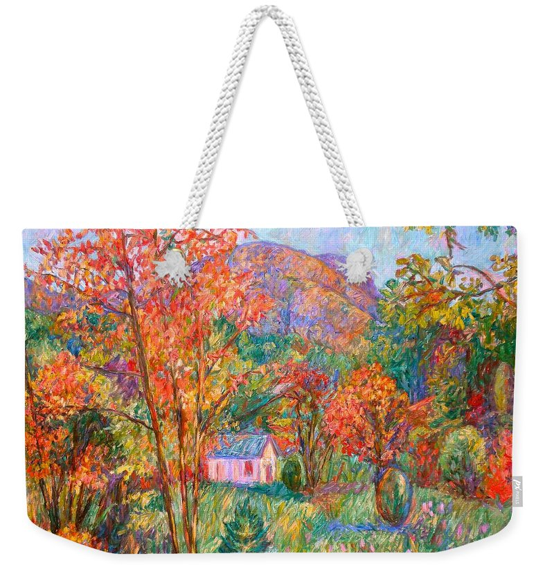 Landscape Weekender Tote Bag featuring the painting Buffalo Mountain In Fall by Kendall Kessler