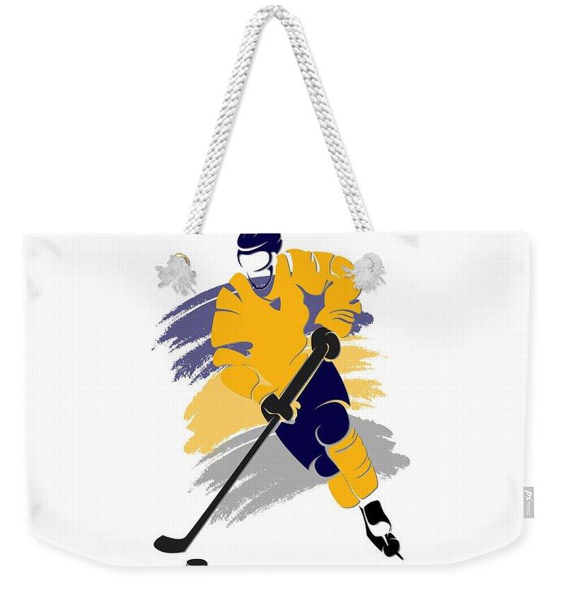 Sabres Weekender Tote Bag featuring the photograph Buffalo Sabres Player Shirt by Joe Hamilton