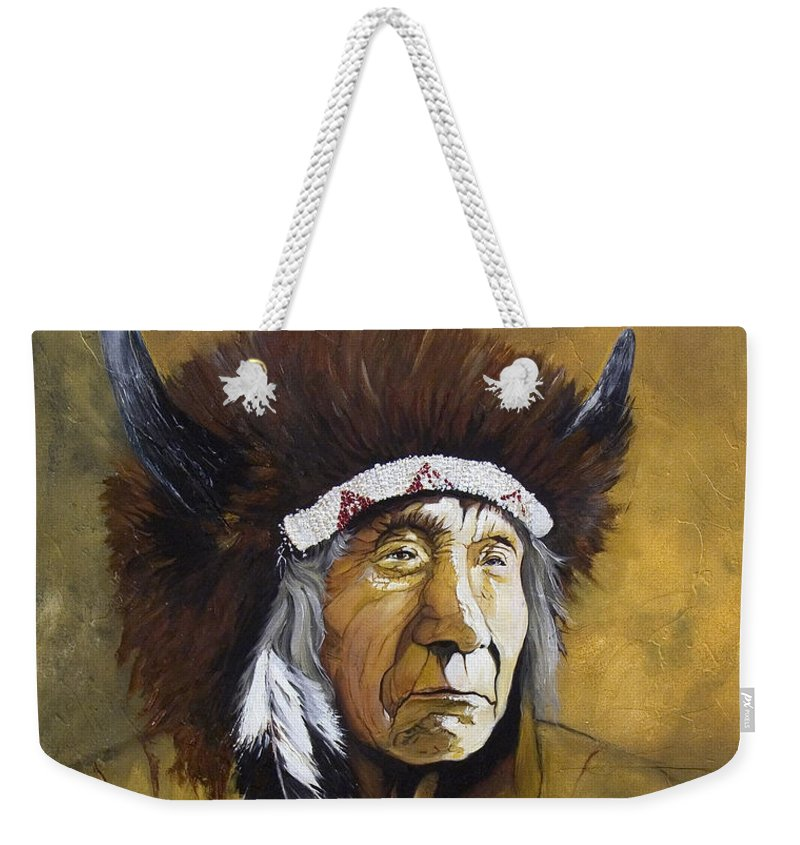 Shaman Weekender Tote Bag featuring the painting Buffalo Shaman by J W Baker