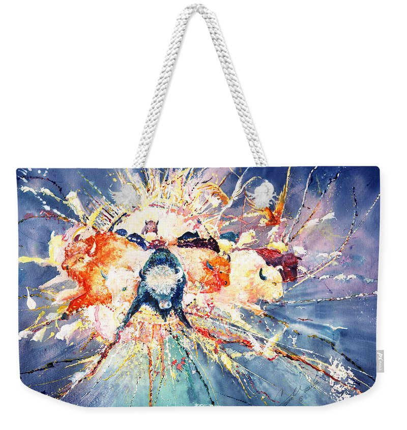 Buffalo Weekender Tote Bag featuring the painting Buffalo Spirits by Connie Williams