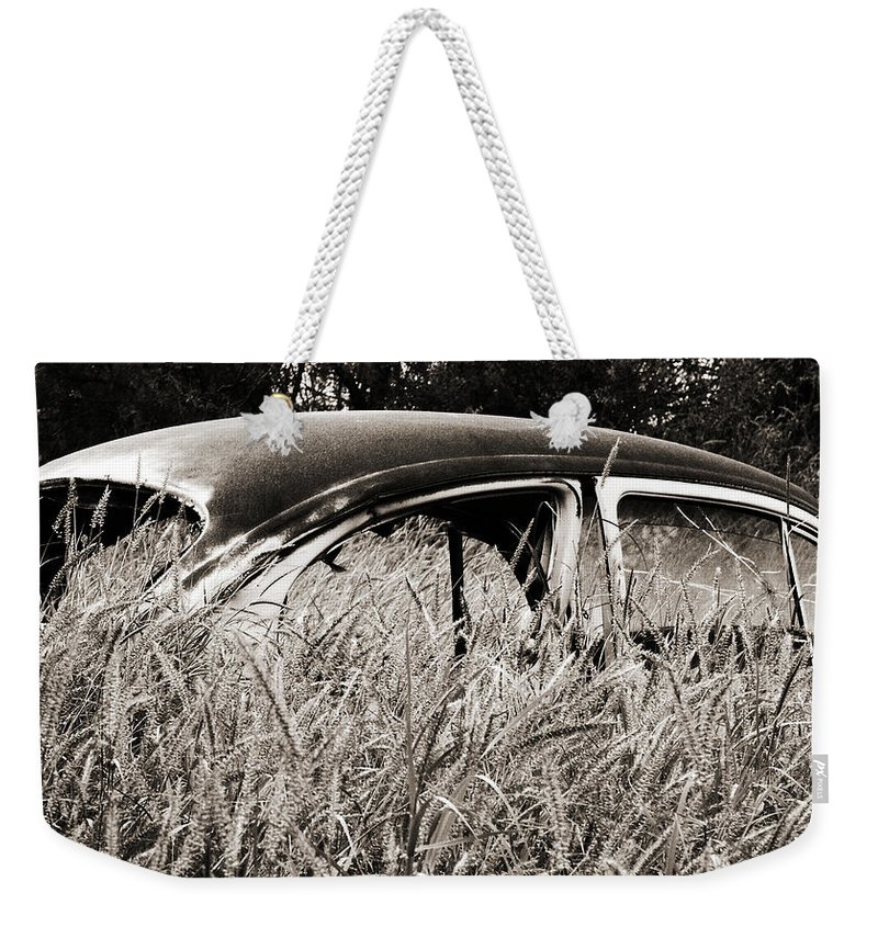 Volkswagen Weekender Tote Bag featuring the photograph Bug In The Grass by Marilyn Hunt