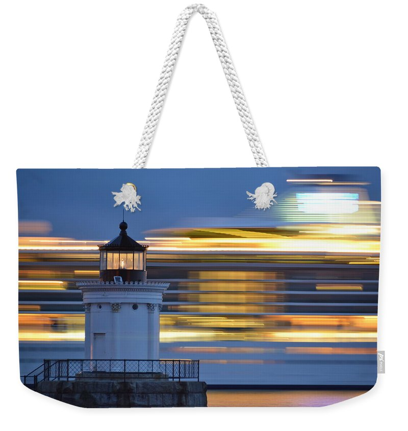 Bug Light Lighthouse Weekender Tote Bag featuring the photograph Bug Light Cruise Ship by Colleen Phaedra