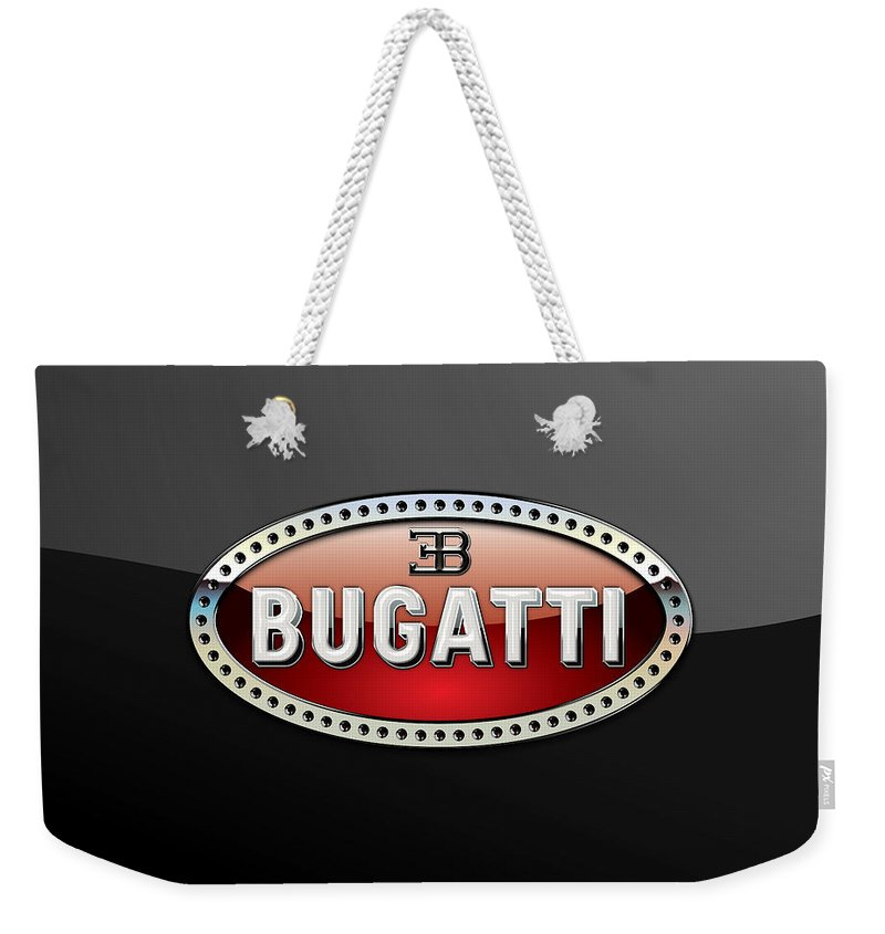 �wheels Of Fortune� Collection By Serge Averbukh Weekender Tote Bag featuring the photograph Bugatti - 3 D Badge on Black by Serge Averbukh