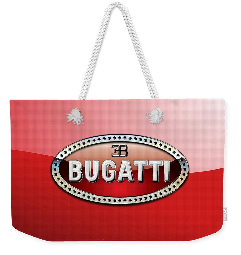 �wheels Of Fortune� Collection By Serge Averbukh Weekender Tote Bag featuring the photograph Bugatti - 3 D Badge On Red by Serge Averbukh