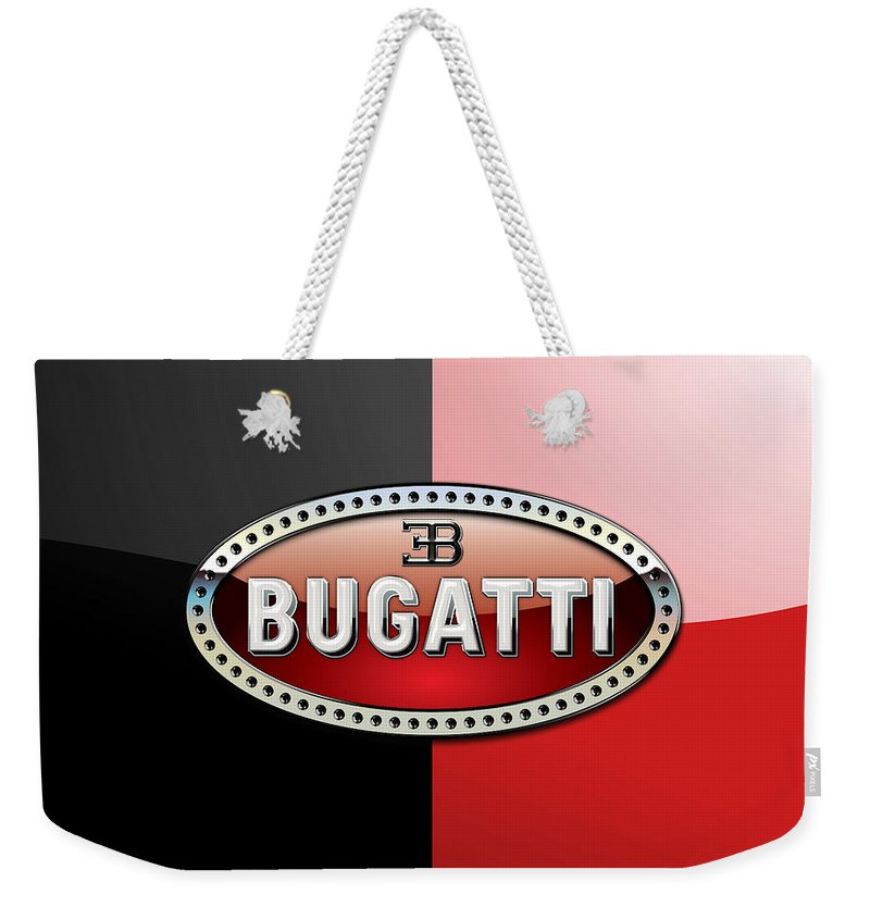 Wheels Of Fortune By Serge Averbukh Weekender Tote Bag featuring the photograph Bugatti 3 D Badge on Red and Black by Serge Averbukh
