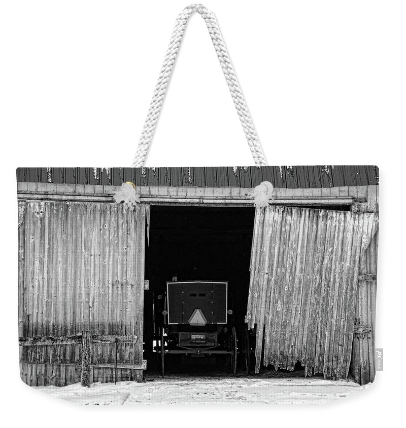 Barn Weekender Tote Bag featuring the photograph Buggy In The Barn by David Arment
