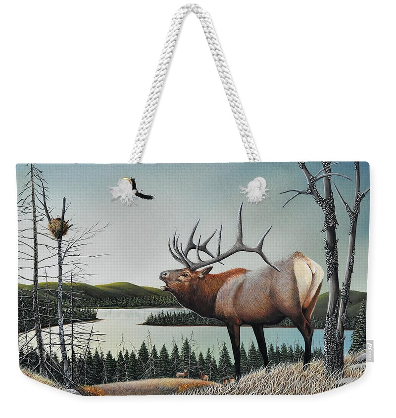 Don Engler Weekender Tote Bag featuring the painting Bugling Elk by Don Engler