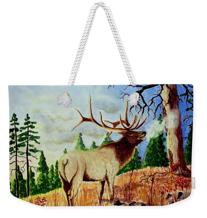 Antlers Weekender Tote Bag featuring the painting Bugling Elk by Jimmy Smith