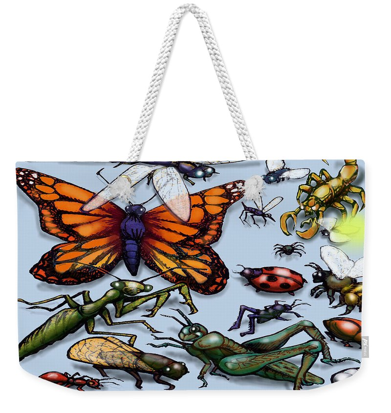 Bug Weekender Tote Bag featuring the painting Bugs by Kevin Middleton