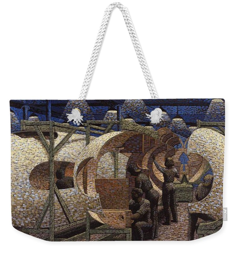 Painting Weekender Tote Bag featuring the painting Building Mosquitos by Mountain Dreams