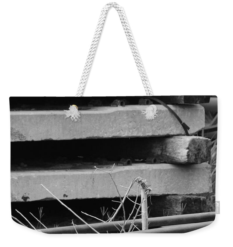Black And White Weekender Tote Bag featuring the photograph Building Tracks by Rob Hans