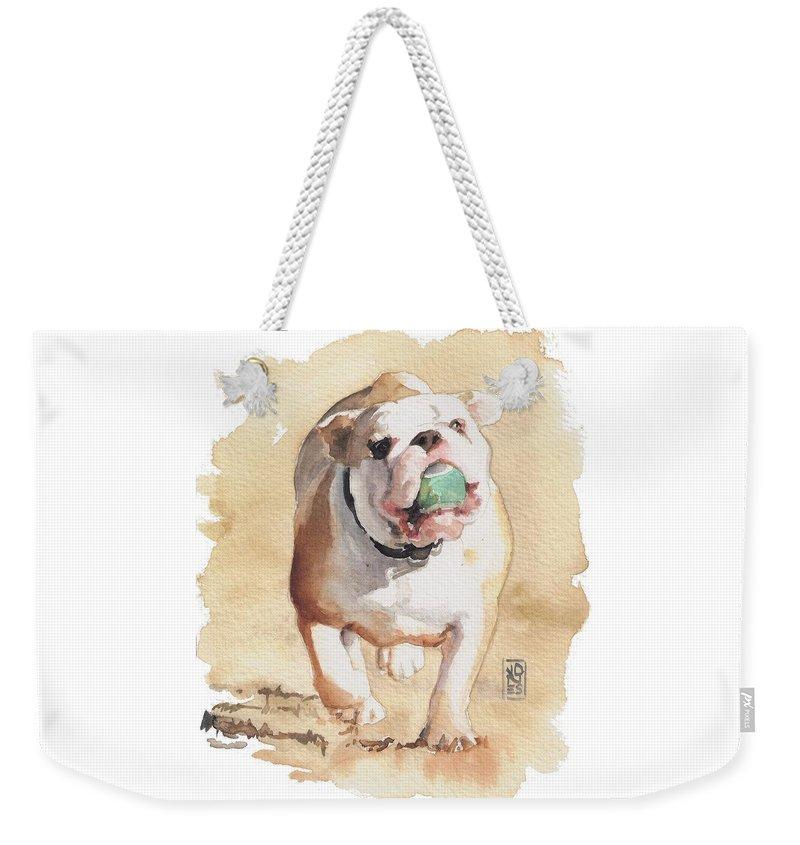 Bulldog Weekender Tote Bag featuring the painting Bull And Ball by Debra Jones
