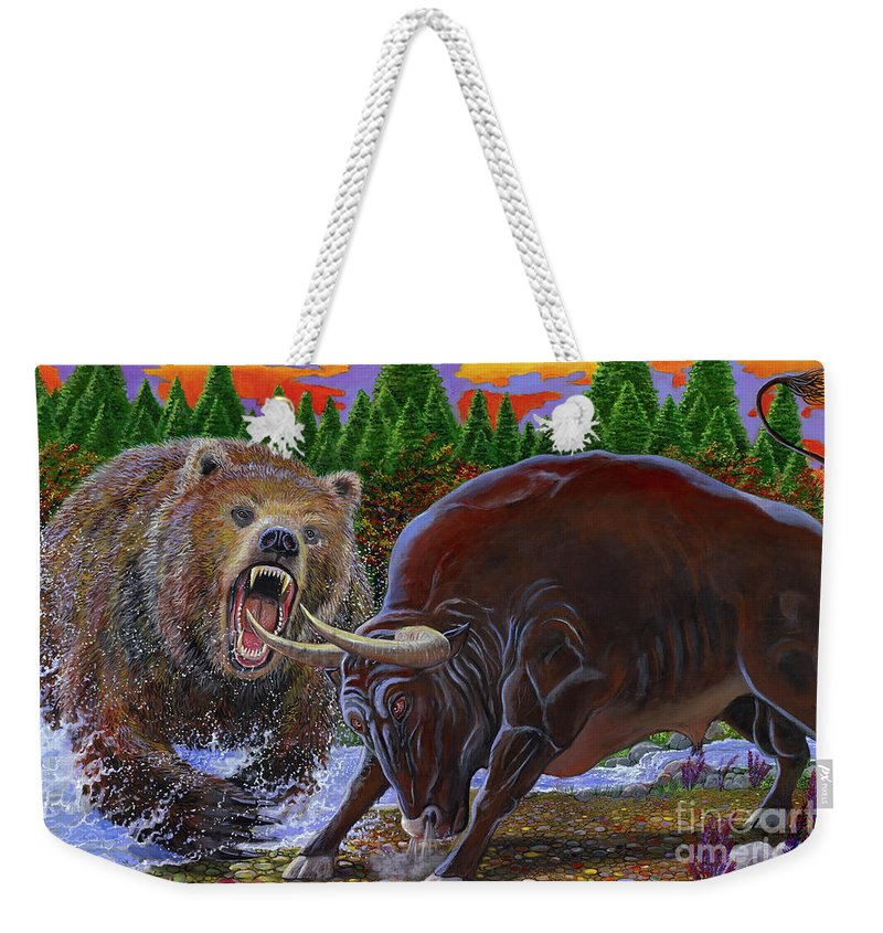 Bull Weekender Tote Bag featuring the painting Bull And Bear by Carey Chen