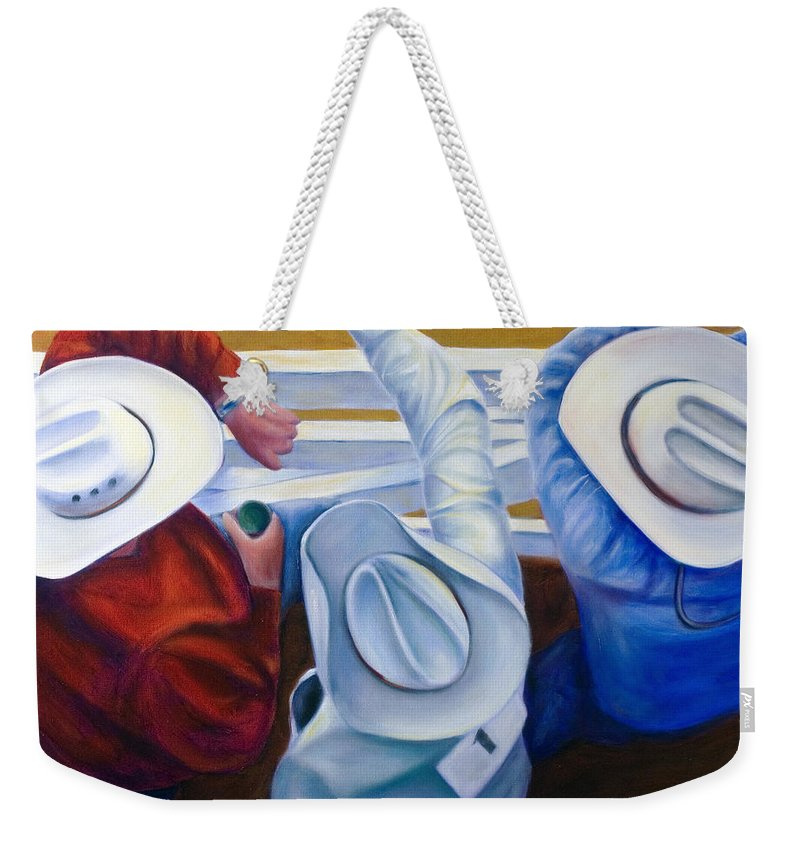 Western Weekender Tote Bag featuring the painting Bull Chute by Shannon Grissom