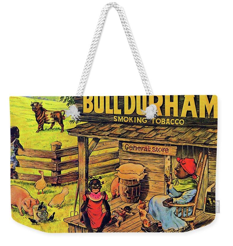 Black Americana Weekender Tote Bag featuring the digital art Bull Durham My It Shure Am Sweet Tastan by ReInVintaged