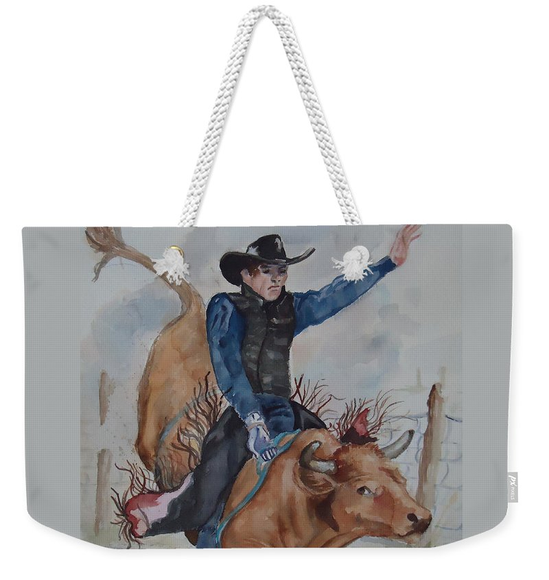 Ride'm Cowboy! Bull Rider Weekender Tote Bag featuring the painting Bull Rider by Charme Curtin