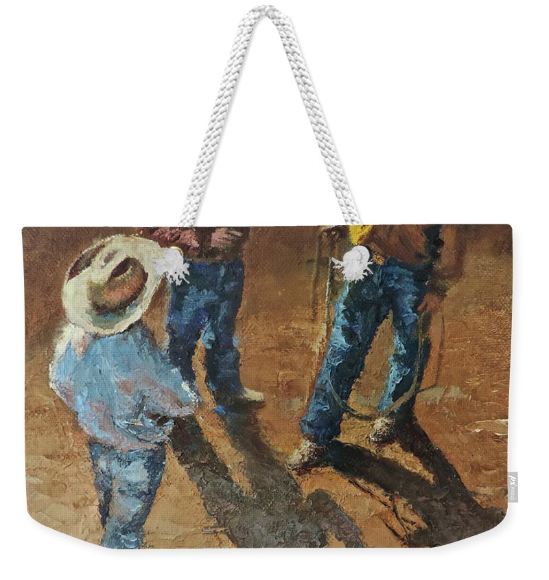 Cowboy Weekender Tote Bag featuring the painting Bull Session by Mia DeLode