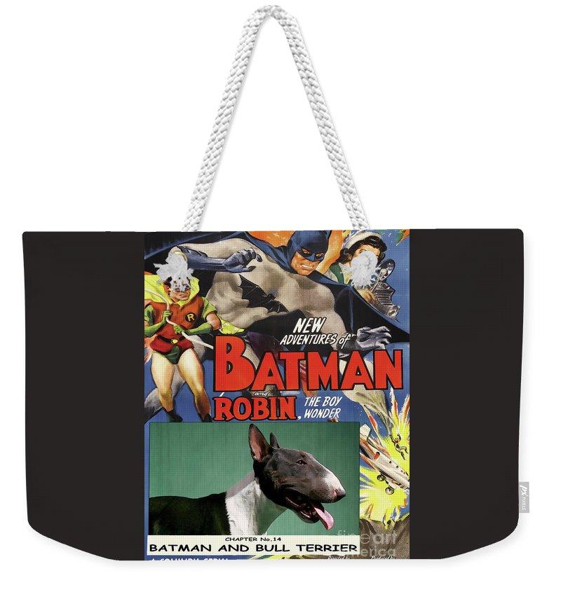 Bull Terrier Weekender Tote Bag featuring the painting Bull Terrier Art Canvas Print - Batman Movie Poster by Sandra Sij