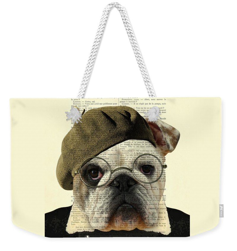 Bulldog Weekender Tote Bag featuring the digital art Bulldog Portrait, Animals In Clothes by Madame Memento