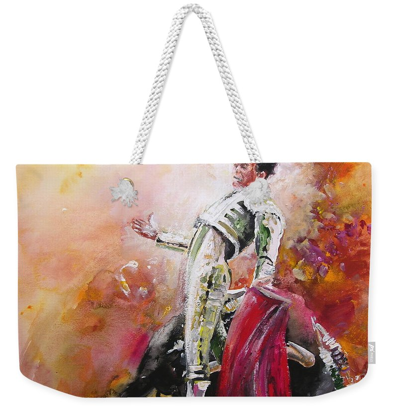 Animals Weekender Tote Bag featuring the painting Bullfight 24 by Miki De Goodaboom
