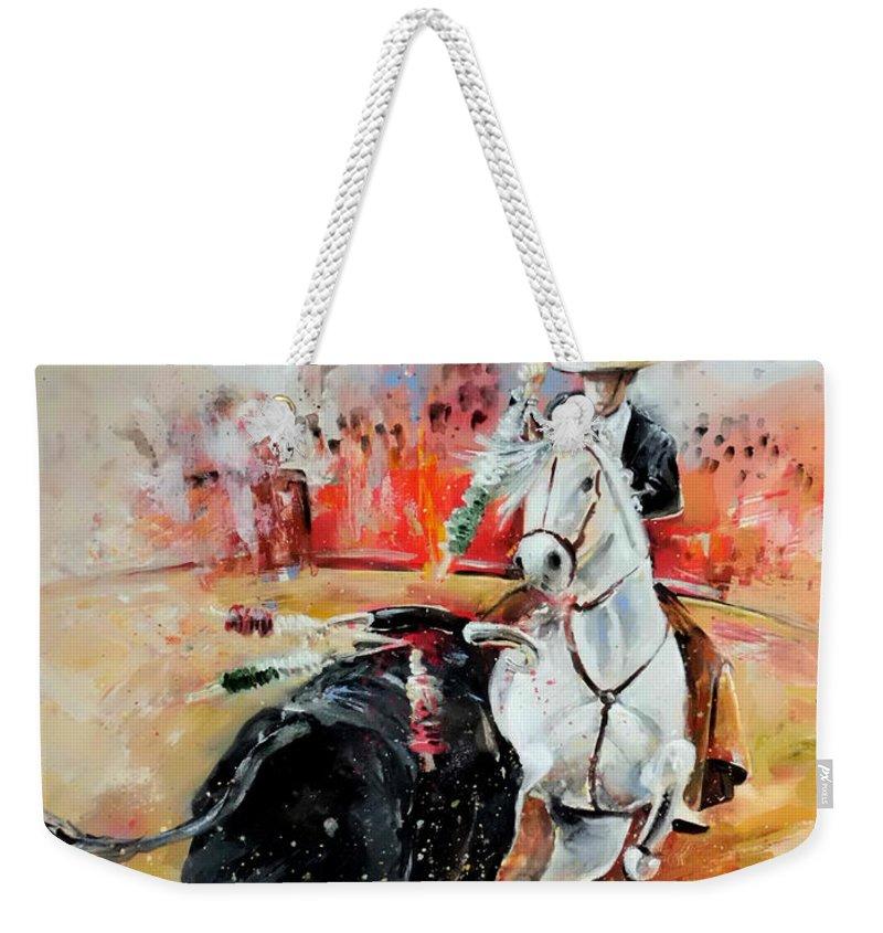 Toros Weekender Tote Bag featuring the painting Bullfight 3 by Miki De Goodaboom