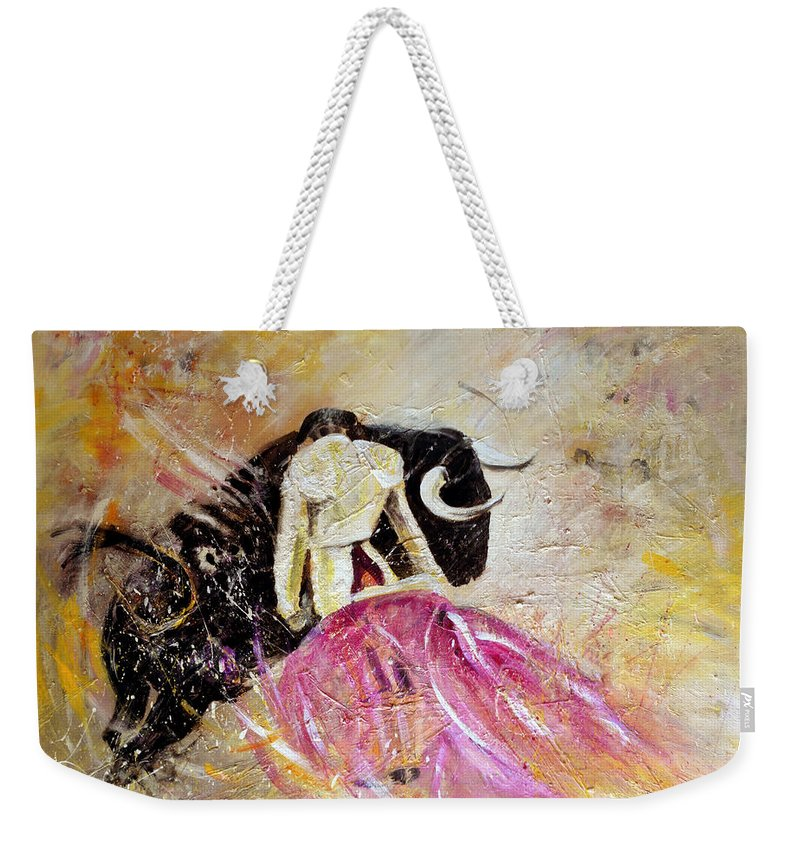 Animals Weekender Tote Bag featuring the painting Bullfight 74 by Miki De Goodaboom