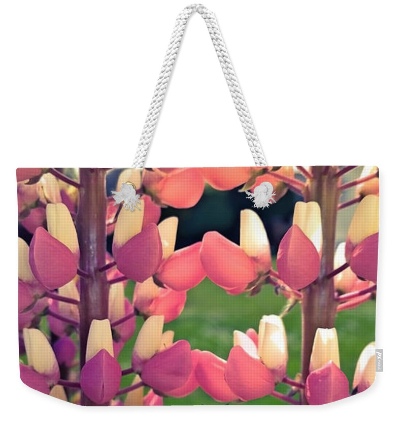 Bee Weekender Tote Bag featuring the photograph Bumble Bee And Flowers by Sebastien Coell
