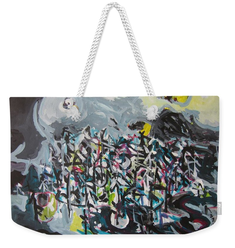 Abstract Paintings Weekender Tote Bag featuring the painting Bummer Flat11 by Seon-Jeong Kim